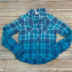 Justice Blue Flannel Top